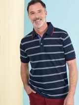 Model Wearing Navy Stripe Original Polo Shirt