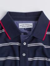 Close Up of Navy Stripe Original Polo Shirt Fabric