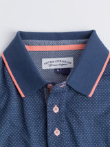 Close Up of Blue Dot Original Polo Shirt Collar