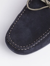 Suede Stitched Upper of Navy Geox Tivoli Moccasin Shoe