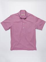 Straight Hem on Burgundy Short Sleeve Popover Shirt