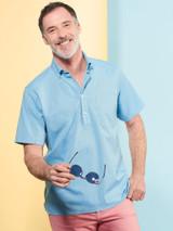 Model Wearing Turquoise Short Sleeve Popover Shirt