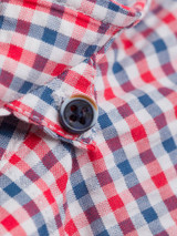 Hidden Button-down Collar on Check Seersucker Half Sleeve Shirt