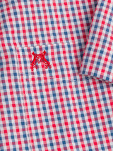 Close-up of Check Seersucker Half Sleeve Shirt