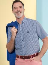 Model Wears Stripe Seersucker Half Sleeve Shirt