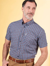 Model Wearing Blue Ben Sherman House Check Shirt