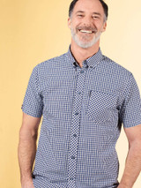 Model Wearing Blue Ben Sherman Short Sleeve Gingham Shirt