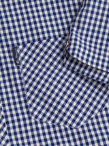 Close Up of Blue Ben Sherman Short Sleeve Gingham Shirt Pocket