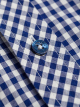 Close Up of Blue Ben Sherman Short Sleeve Gingham Shirt Fabric