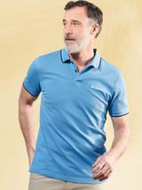 Model Wearing Blue Ben Sherman Organic Cotton Polo