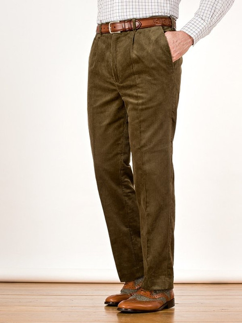 Image of Mens Moss Green Corduroy Pants