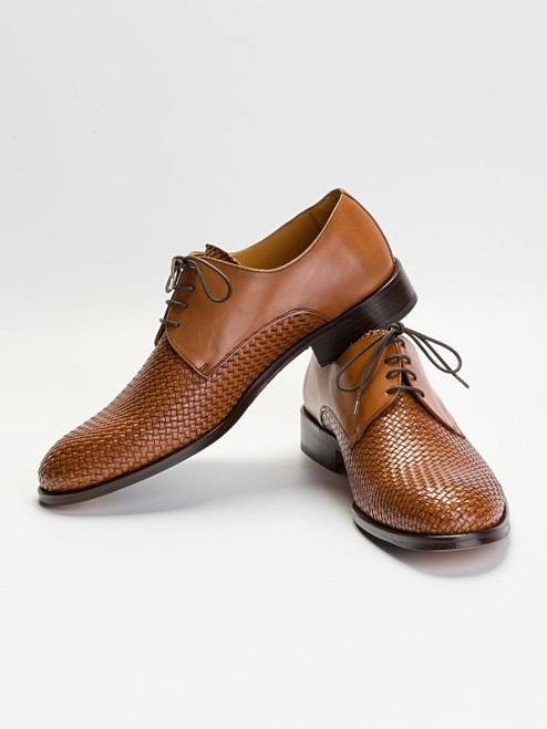 Leather Half Basket Weave Derby Shoe