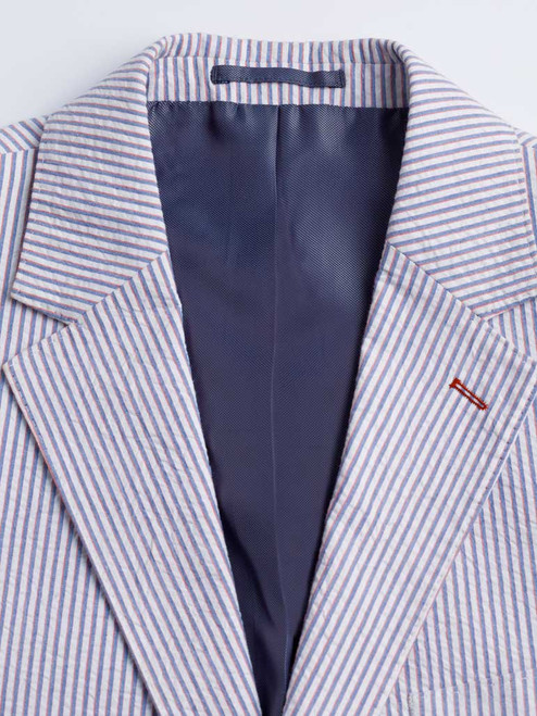 Red stitching on lapel