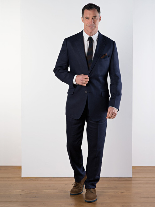 Model Wears Navy Linen Suit