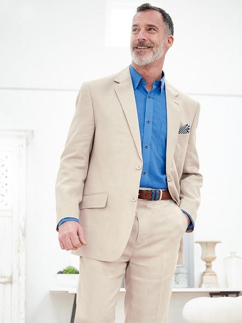 Model Wears Natural Linen Suit