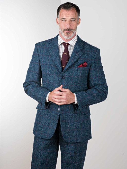 Image of Mens Marine Blue Harris Tweed 2 Piece Suit