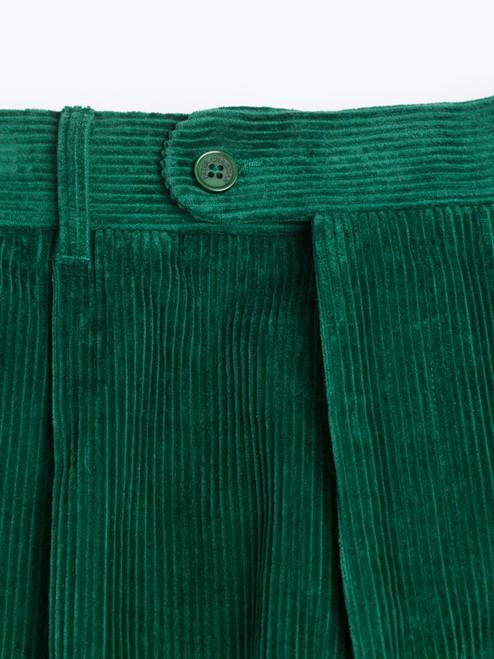 Close Up of Mens Emerald Green Corduroy Pants Fabric