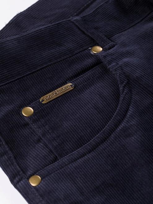 Close Up of Mens Indigo Blue Cord Jeans Pocket Details