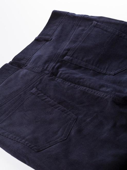 Close Up of Mens Indigo Blue Cord Jeans Fabric