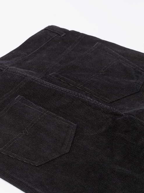 Close Up of Mens Black Cord Jeans Fabric