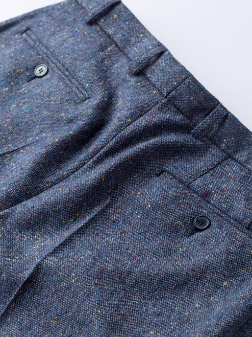 Buttoned Hip Pockets on Blue Fine Donegal Tweed Pants