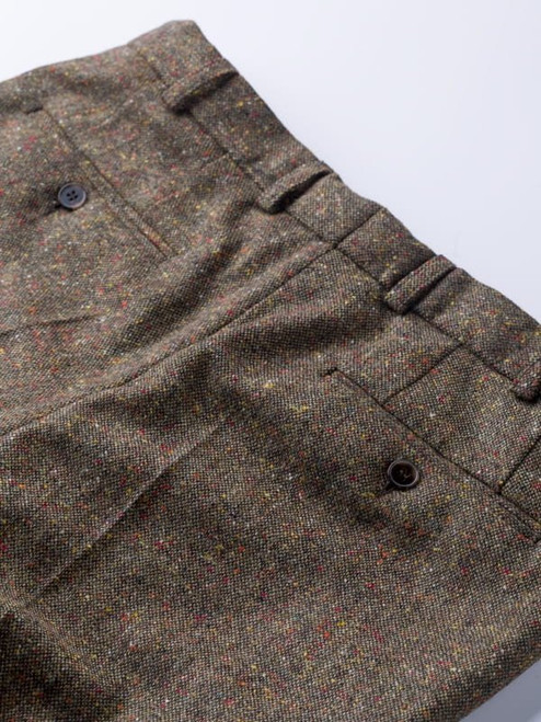 Buttoned Hip Pockets on Bronze Fine Donegal Tweed Pants