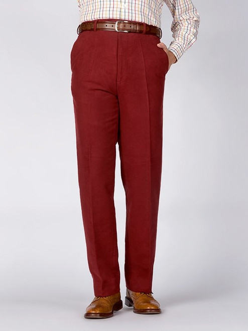 Image of Mens Mulberry Red Moleskin Pants