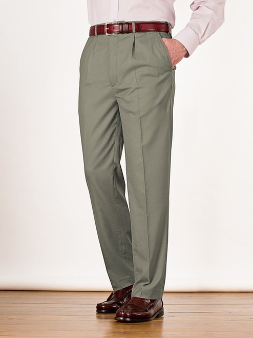 Image of Mens Sage Green Pleated Chinos