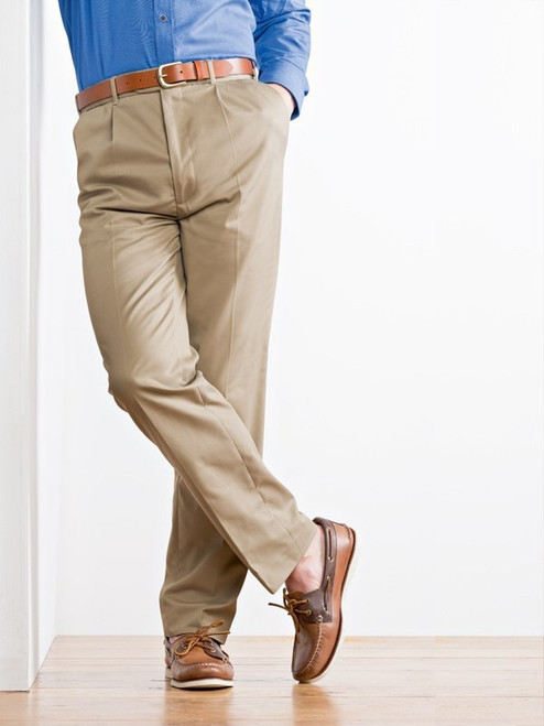 Image of Mens Sand Brown Pleated Chinos