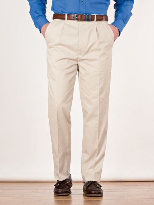 Image of Mens Stone White Pleated Chinos