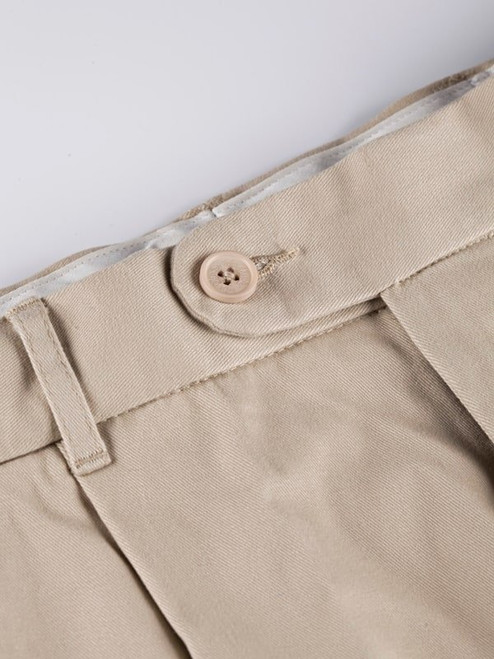 Close Up of Mens Stone White Pleated Chinos Detail