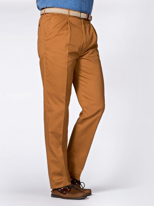 Image of Mens Tan Brown Pleated Chinos