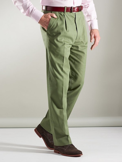 Image of Mens Green Pleated Chinos