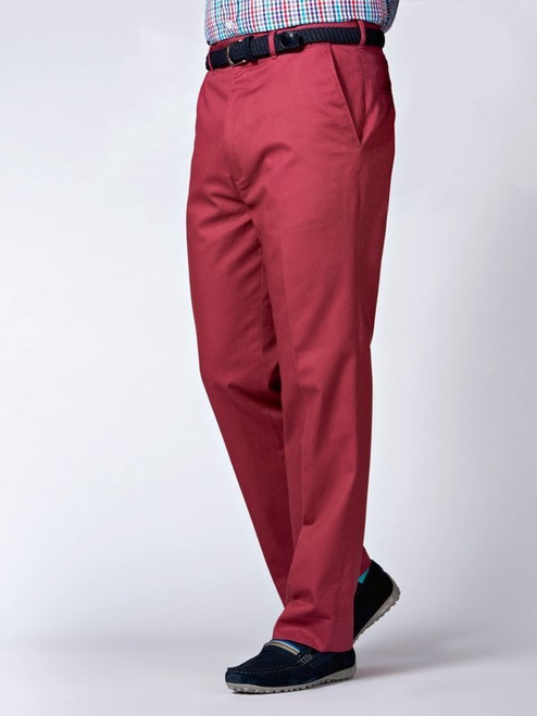 Image of Mens Brick Red Flat Front Chinos