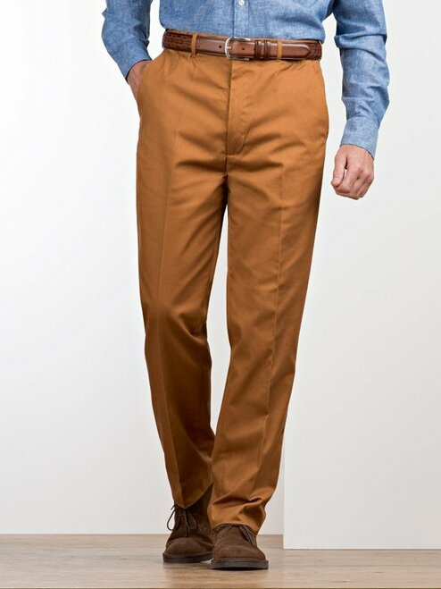 Image of Mens Tan Brown Flat Front Chinos