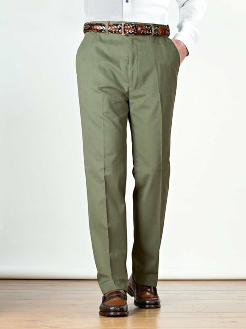 Image of Mens Green Flat Front Chinos