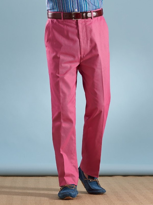 Image of Mens Pink Flat Front Chinos