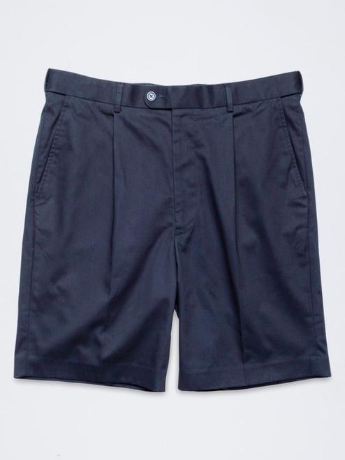 Flat shot of Navy Cotton Tailored Shorts