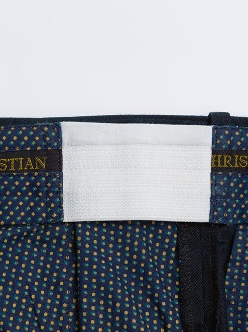 Expanding waistband of Navy Cotton Tailored Shorts