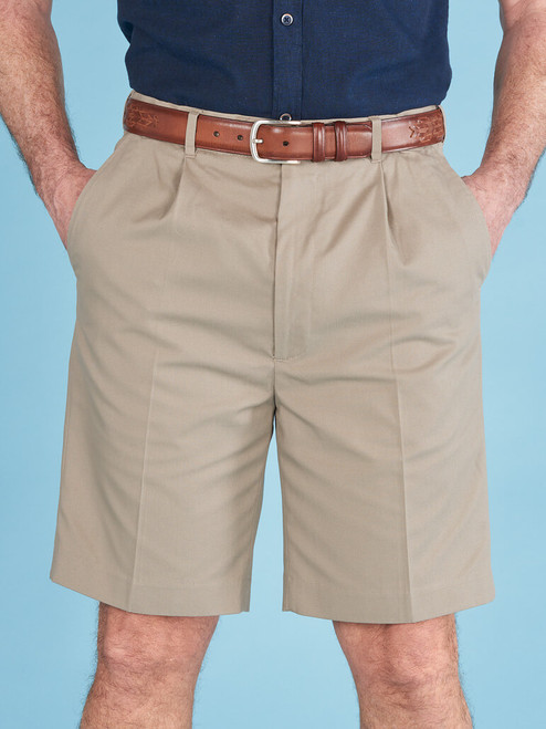 Model wears Sand Cotton Tailored Shorts