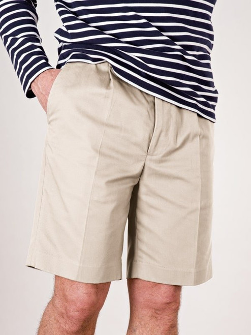 Model wears Stone Cotton Tailored Shorts
