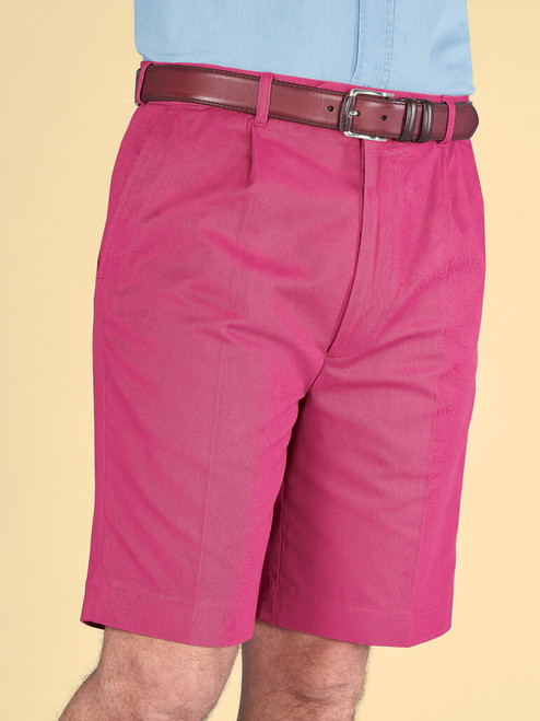 Model wears Pink Cotton Tailored Shorts