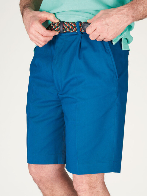 Model wears Royal Blue Cotton Tailored Shorts