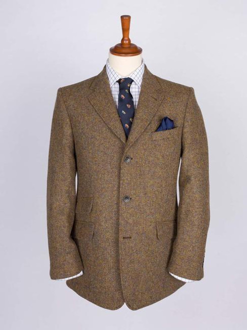 Image of Mens Lichen Green Harris Tweed Jacket