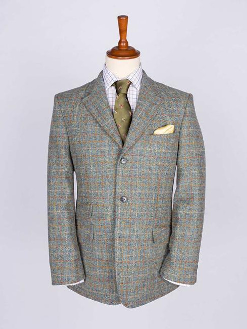 Image of Mens Mist Blue Harris Tweed Jacket