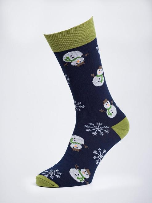 Navy Snowman Socks