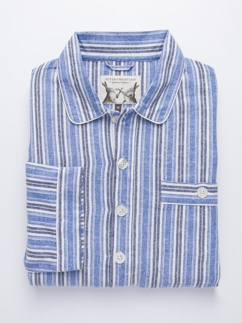 Folded Image of Mens Cotton Blue Traditional Nightshirt