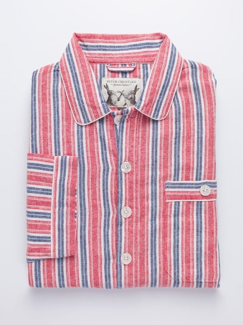 Folded Image of Mens Red Cotton Traditional Nightshirt