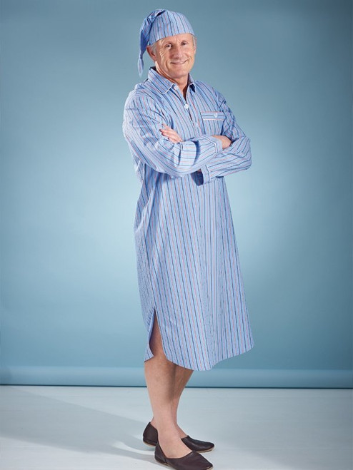 Image of Mens Cotton Blue Nightshirt