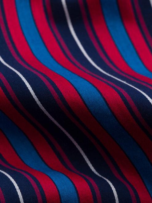 Fabric detail of Navy & Red Organic Cotton Club Stripe Pajamas